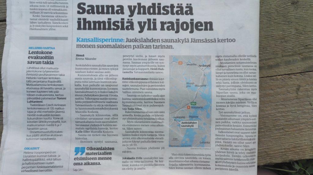 Saunakylän kesäleiristä uutisoitiin useissa sanomalehdissä.